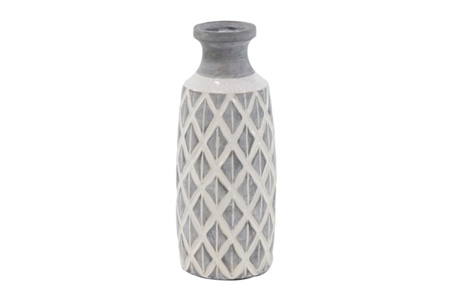 16 Inch White Stone And Ceramic Vase - 360