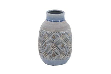 11 Inch Blue Stone And Ceramic Vase