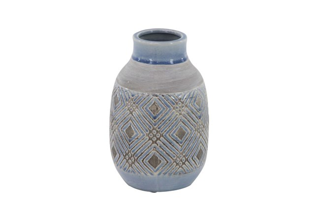 11 Inch Blue Stone And Ceramic Vase - 360