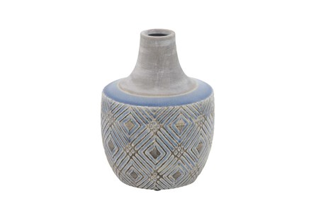 10 Inch Blue Stone And Ceramic Vase