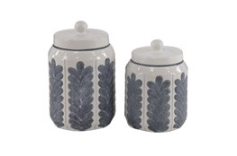 10 Inch Set Of 2 White Feathered Jar