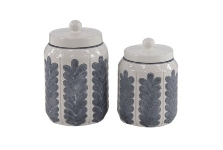 10 Inch Set Of 2 White Feathered Jar - Main