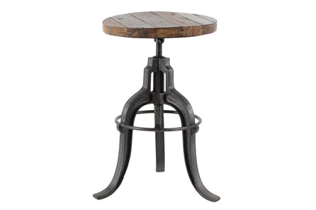 Adjustable Teak Metal Stool