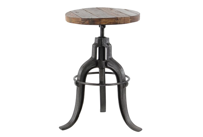 Adjustable Teak Metal Stool - 360