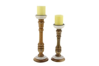 Marble And Wood Candlestick Set Of 2