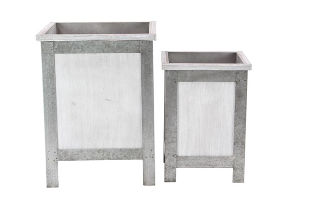 Set Of 2 White Wash And Metal Planters - 360
