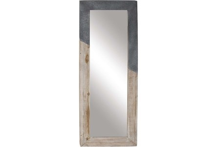 Leaner Mirror-White Wash And Metal 28X71