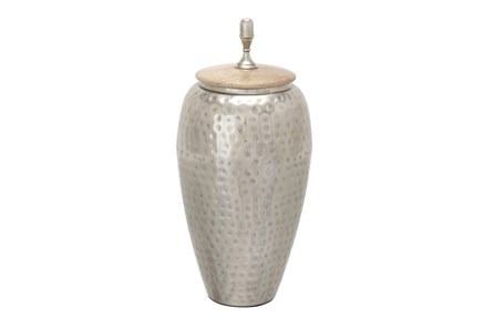Tall Hammered Metal And Wood Jar