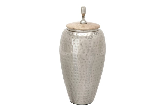 Tall Hammered Metal And Wood Jar - 360