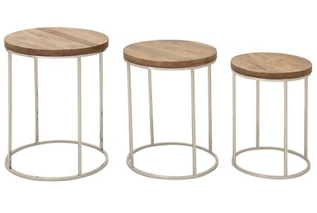 3 Piece Set Round Wood And Stainless Steel Accent Tables