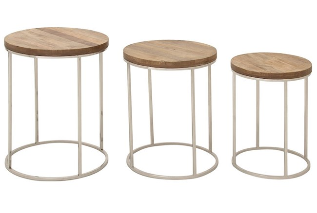 3 Piece Set Round Wood And Stainless Steel Accent Tables - 360