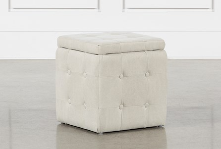 2 Piece Set Cream Upholstered Storage Cube