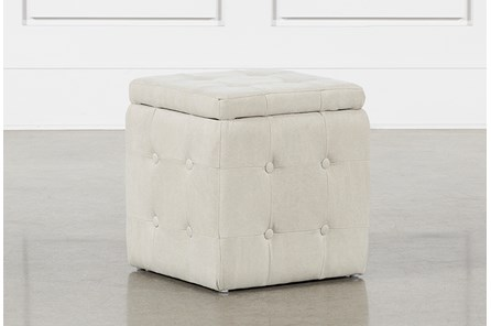 2 Piece Set Cream Upholstered Storage Cube