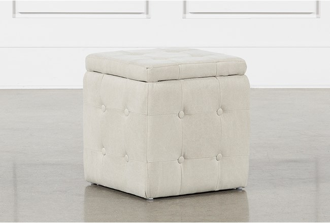 2 Piece Set Cream Upholstered Storage Cube - 360