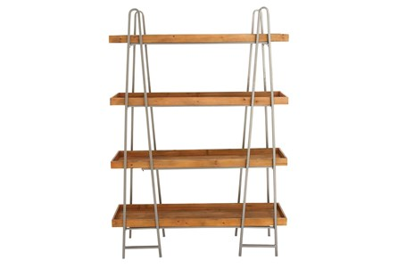 Tier Wood And Metal Bookcase