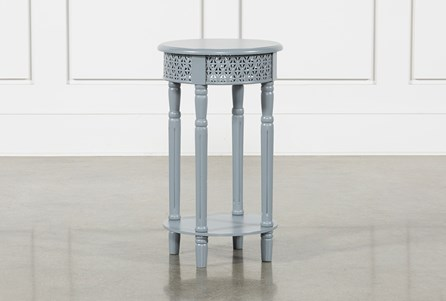 Grey Wooden Lattice Side Table