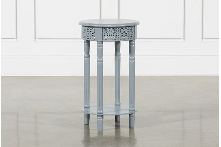 Grey Wooden Lattice Side Table - Main