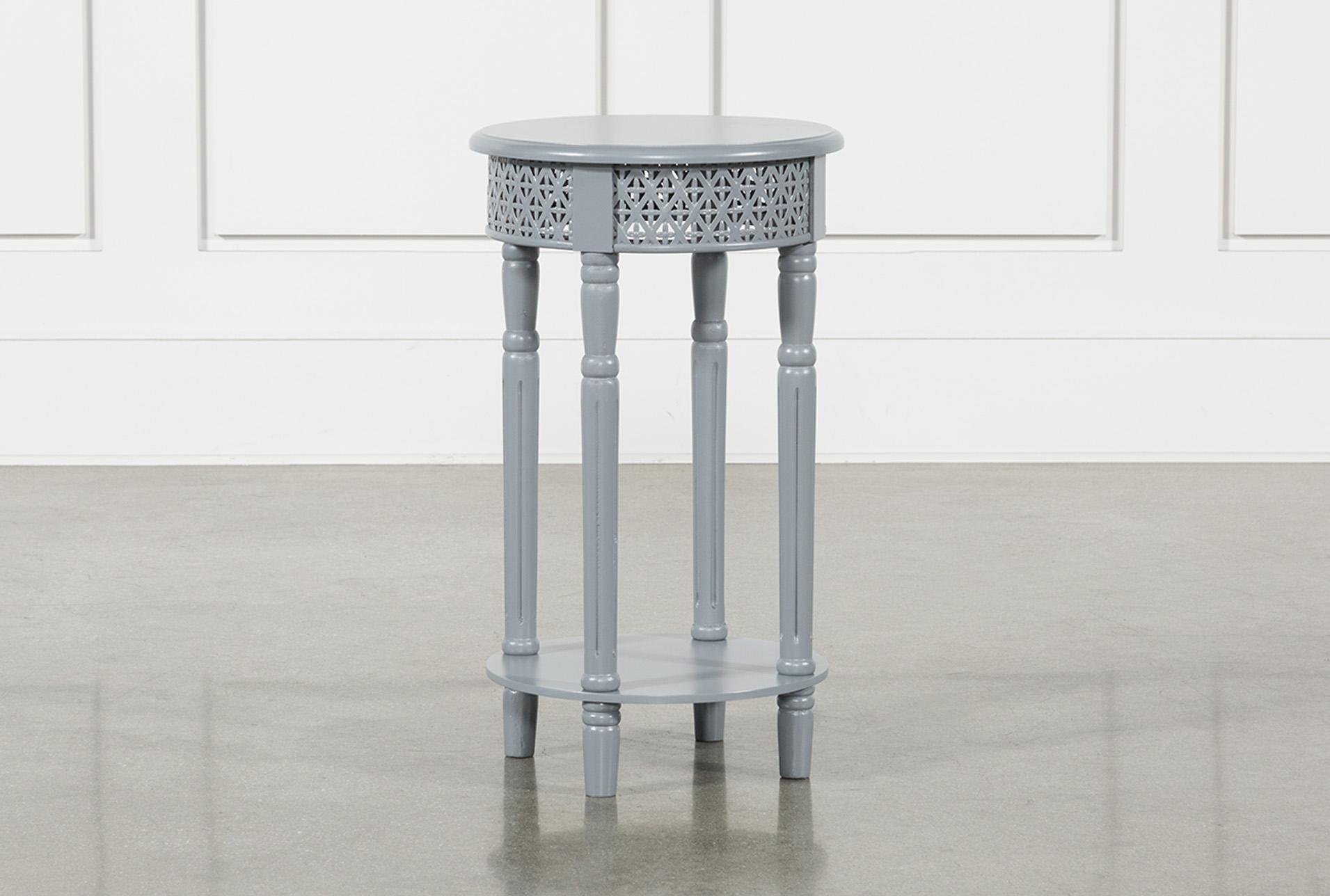 Grey Wooden Lattice Side Table