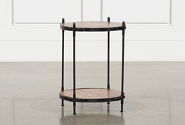 Tier Wood And Metal Accent Table