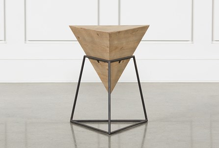 Wood And Metal Triangle Accent Table