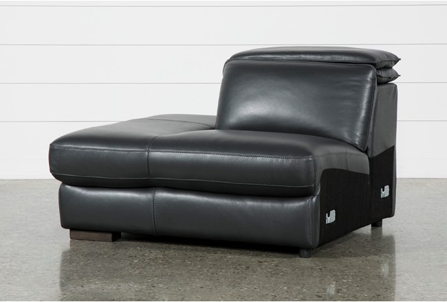 Hana Slate Leather Laf Chaise With 2 Position Headrest - 360