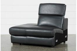 Hana Slate Leather Left Arm Facing Chaise With 2 Position Headrest