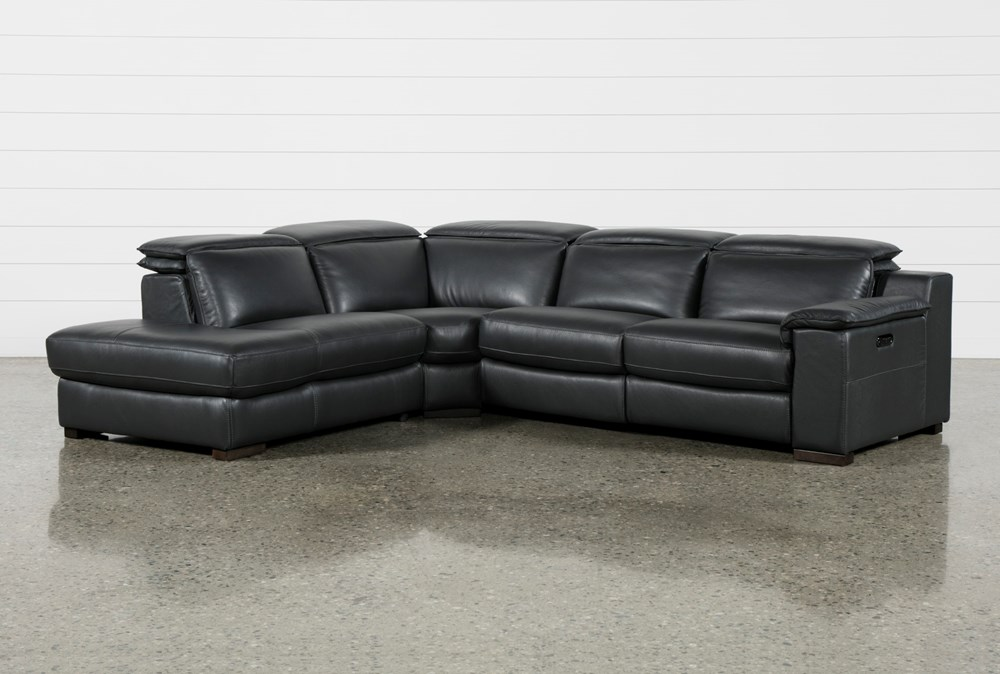 "Hana Slate Leather 3 Piece 113"" Power Reclining Sectional With Left Arm Facing Chaise"