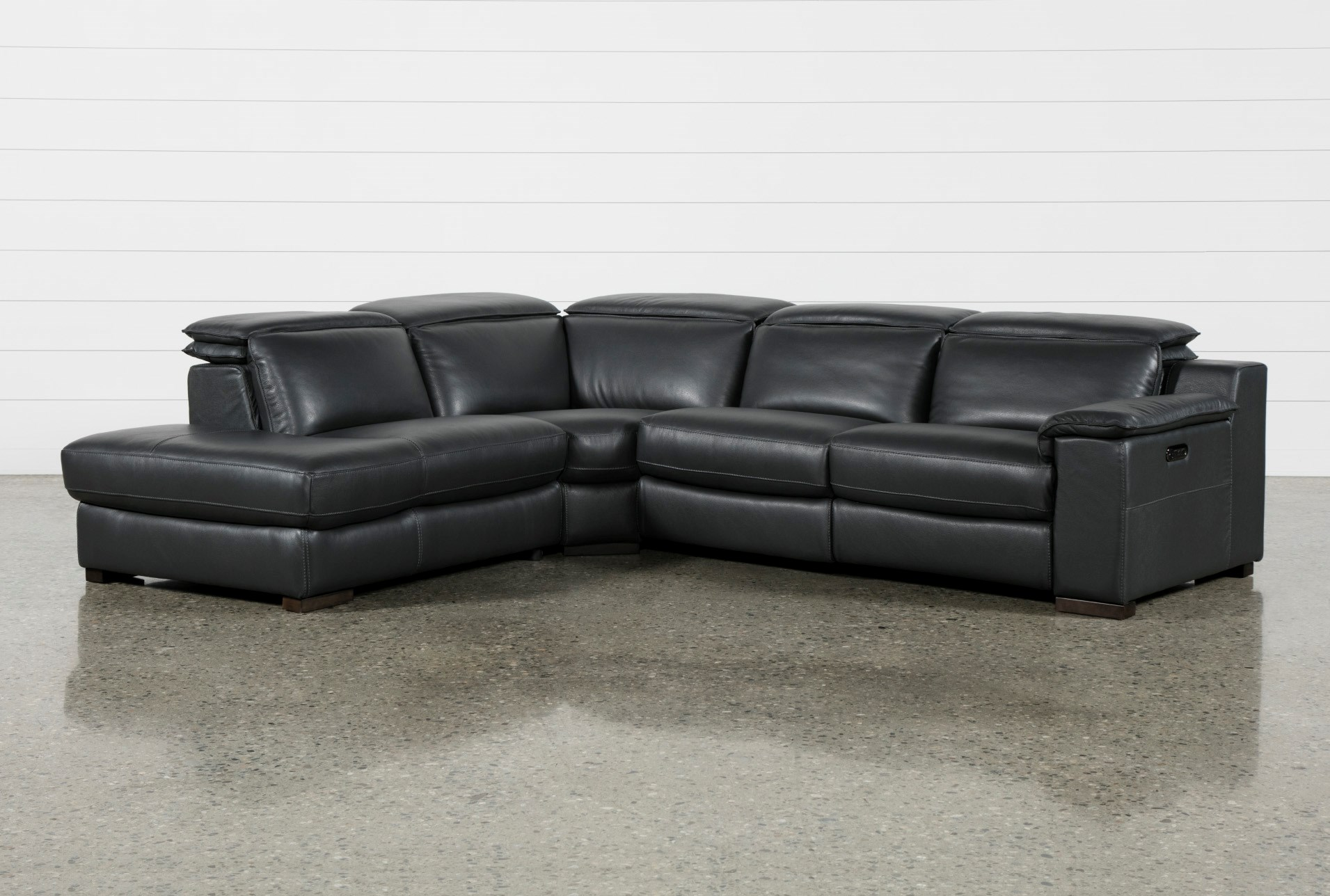Hana Slate Leather 3 Piece Pwr Reclining Sectional With Left Arm ...