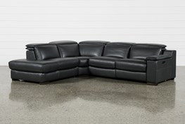 """Hana Slate Leather 3 Piece 113"""" Power Reclining Sectional With Left Arm Facing Chaise"""