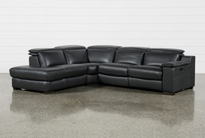 Hana Slate Leather 3 Piece Power Reclining Sectional With Left Arm Facing  Chaise