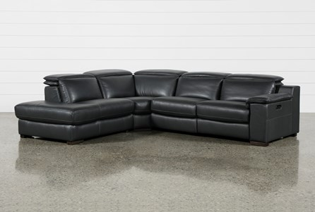 Hana Slate Leather 3 Piece Power Reclining Sectional With Left Facing Chaise