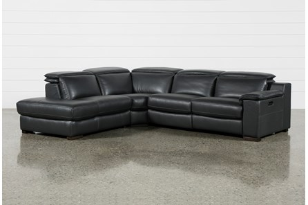 Hana Slate Leather 3 Piece Pwr Reclining Sectional With Left Arm Facing Chaise