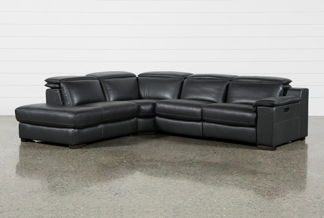 """Hana Slate Leather 3 Piece 113"""" Power Reclining Sectional With Left Arm Facing Chaise - 360"""