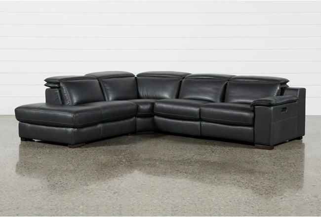 "Hana Slate Leather 3 Piece 113"" Power Reclining Sectional With Left Arm Facing Chaise - 360"