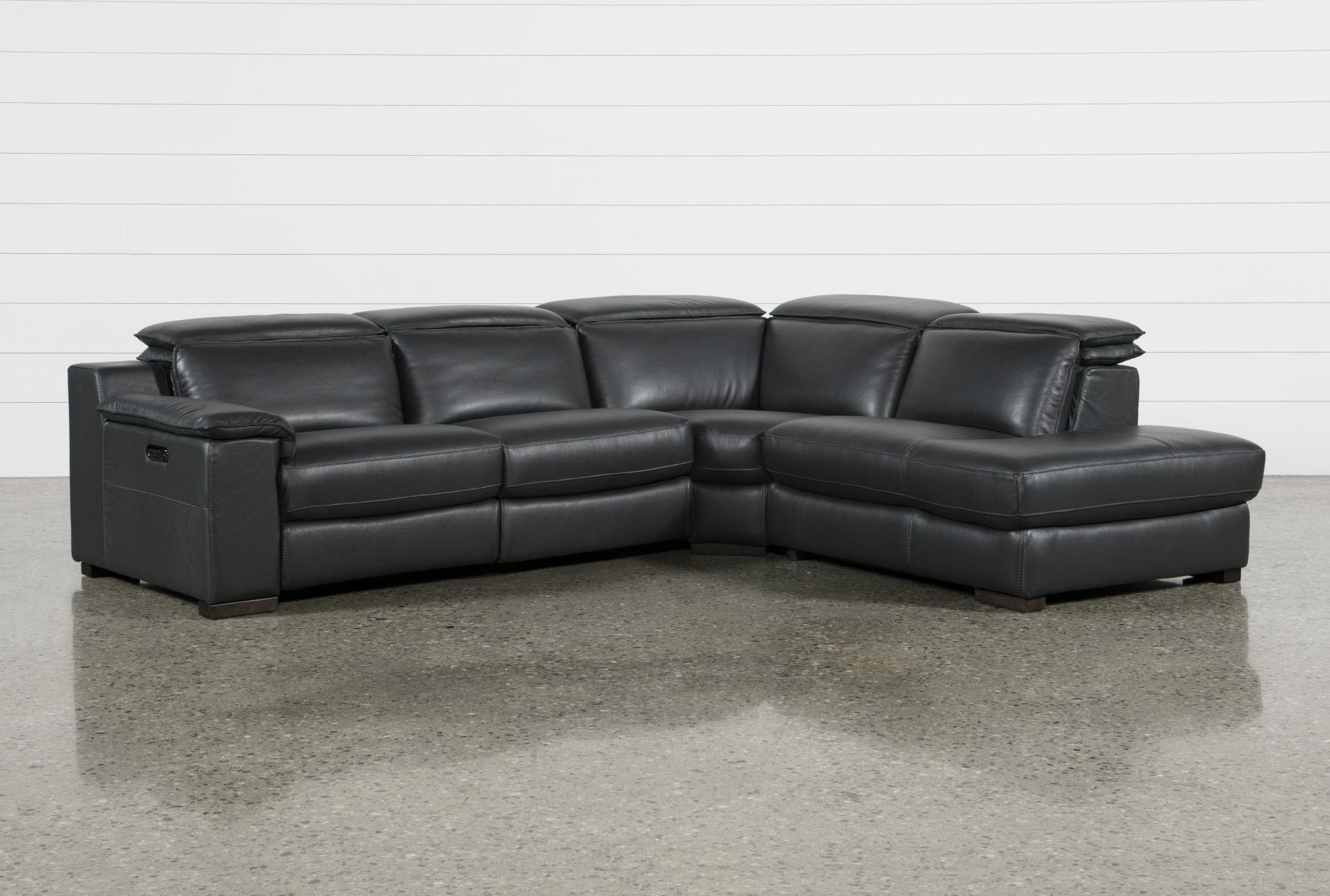 Modern sectional sofa Red Hana Slate Leather Piece Power Reclining Sectional With Right Facing Chaise Living Spaces Contemporary Modern Sectionals Sectional Sofas Living Spaces