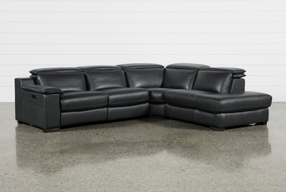 Hana Slate Leather 3 Piece Power Reclining Sectional With Right Arm Facing Chaise