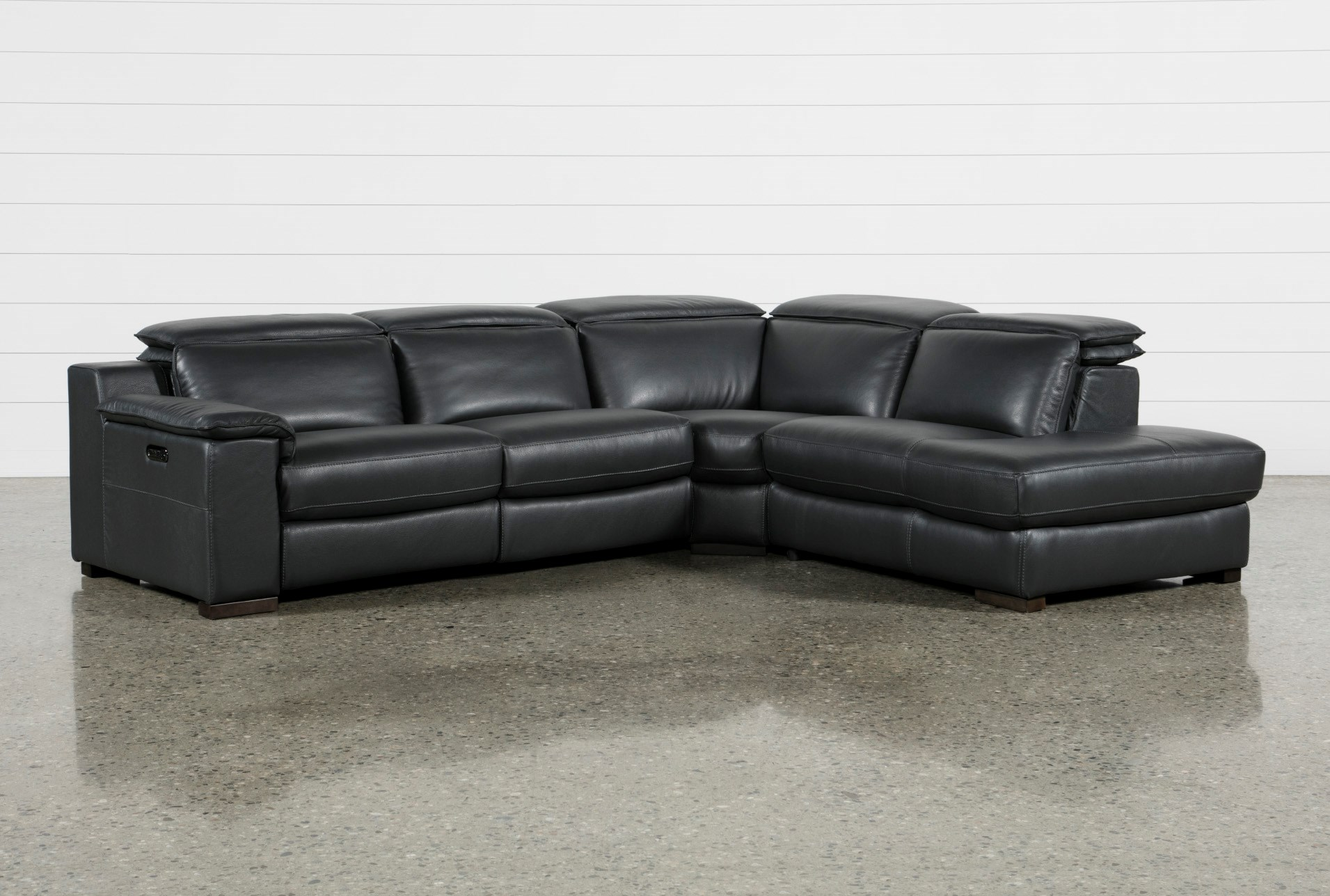 Hana Slate Leather 3 Piece Pwr Reclining Sectional With Right Arm ...