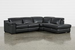 """Hana Slate Leather 3 Piece 113"""" Power Reclining Sectional With Right Arm Facing Chaise"""