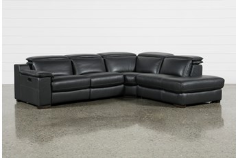 "Hana Slate Leather 3 Piece 113"" Power Reclining Sectional With Right Arm Facing Chaise"