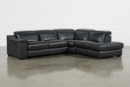 Hana Slate Leather 3 Piece Pwr Reclining Sectional With Right Arm Facing  Chaise