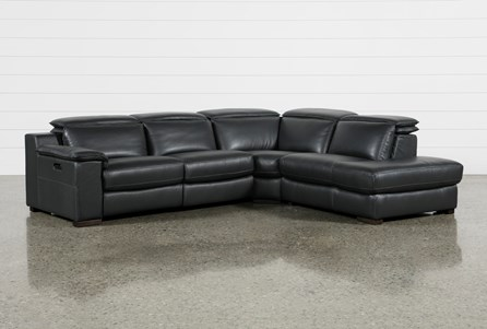 Hana Slate Leather 3 Piece Power Reclining Sectional With Right Facing Chaise