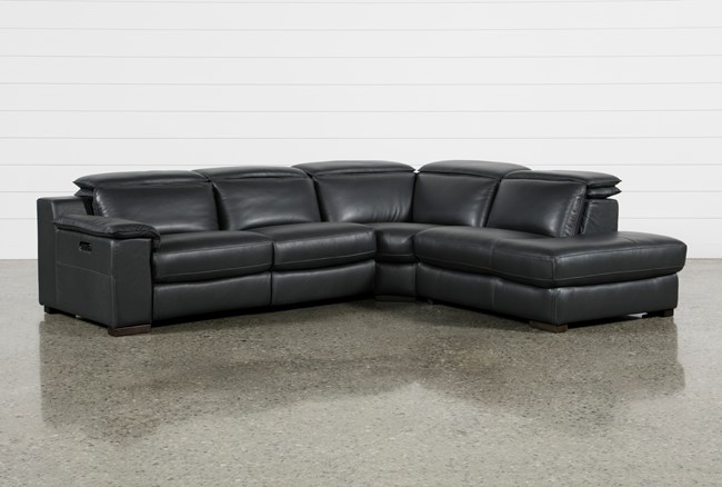 Hana Slate Leather 3 Piece Power Reclining Sectional With Raf Chaise - 360