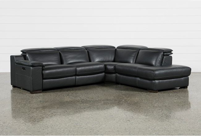 Hana Slate Leather 3 Piece Power Reclining Sectional With Right Arm Facing Chaise - 360