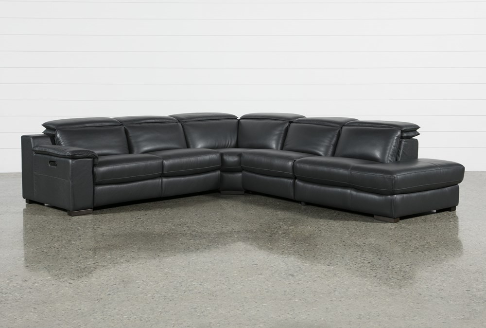 "Hana Slate Leather 4 Piece 113"" Power Reclining Sectional With Right Arm Facing Chaise"