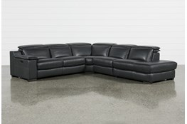 Hana Slate Leather 4 Piece Pwr Reclining Sectional With Right Arm Facing Chaise