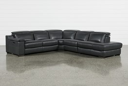 """Hana Slate Leather 4 Piece 113"""" Power Reclining Sectional With Right Arm Facing Chaise"""