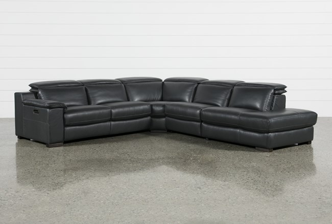 Hana Slate Leather 4 Piece Power Reclining Sectional With Raf Chaise - 360