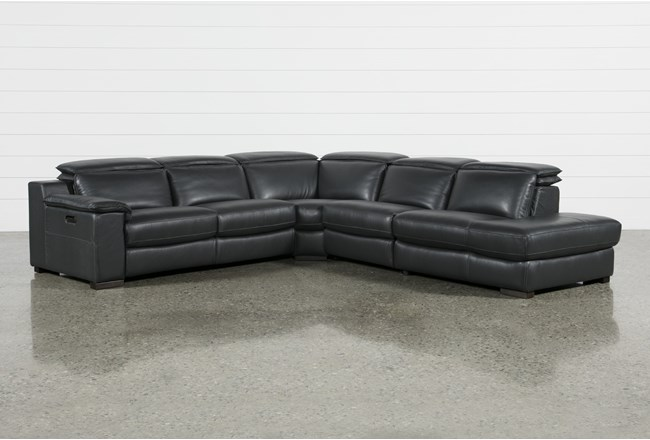 "Hana Slate Leather 4 Piece 113"" Power Reclining Sectional With Right Arm Facing Chaise - 360"