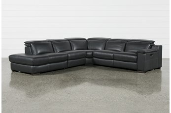 "Hana Slate Leather 4 Piece 113"" Power Reclining Sectional With Left Arm Facing Chaise"