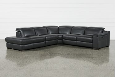 """Hana Slate Leather 4 Piece 113"""" Power Reclining Sectional With Left Arm Facing Chaise"""